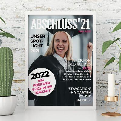 Abschiedsgeschenk personalisierbares Poster im Magazin Style