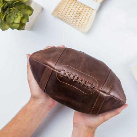 Leder-Kulturbeutel American Football