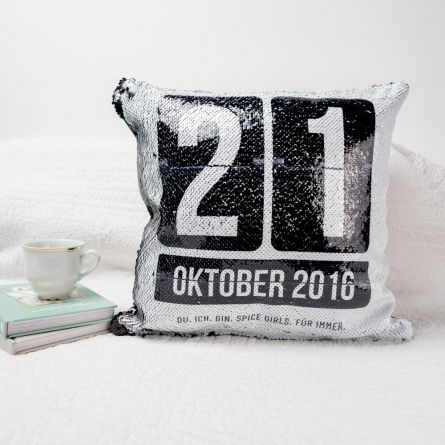 Personalisierbarer Pailletten Kissenbezug mit Datum