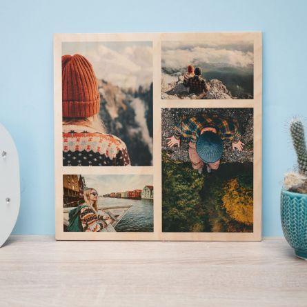 Personalisierbares Foto Holzbild mit 4 Bildern