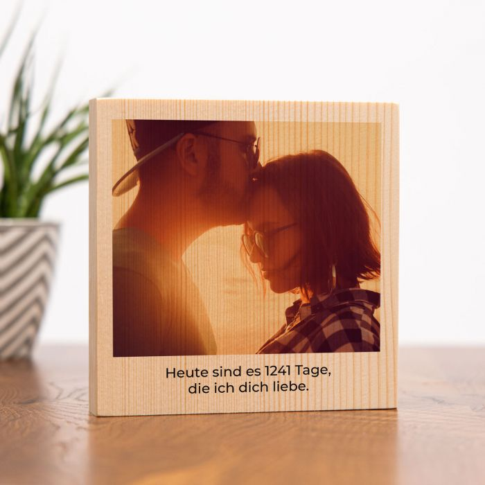 Quadratisches Holzbild mit Bild und Text