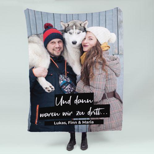 Kleine Decke mit Bild und Text