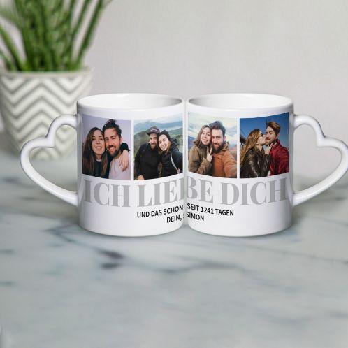 Herzhenkel-Tasse mit 4 Bilder und Text