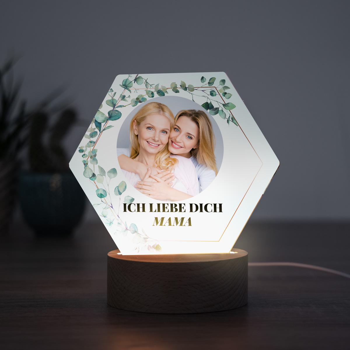 Geschenke für Mama LED Leuchte mit Blättern mit Bild und Text