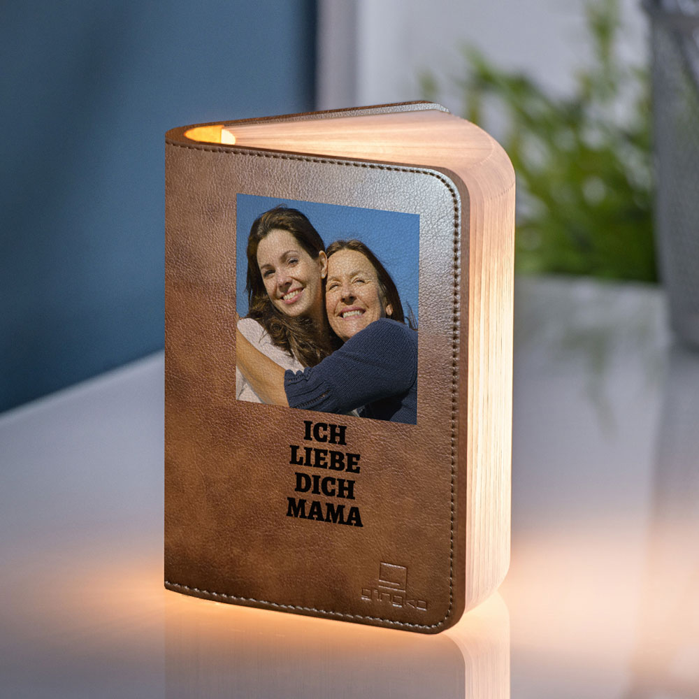 geschenke für mama personalisierbare Buchleuchte