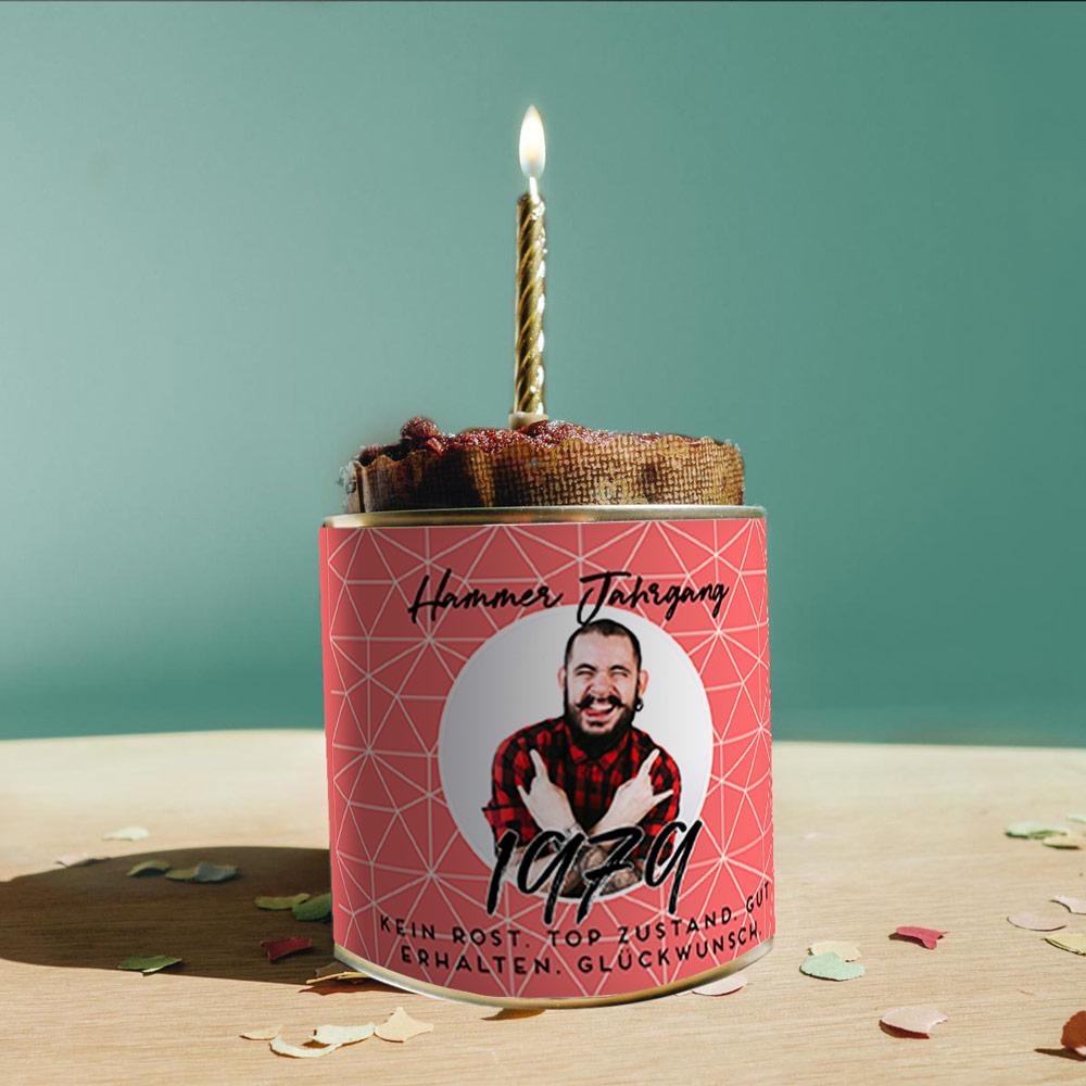 geburtstagsgeschenke für männer personalisierbarer cancake kuchen in der dose