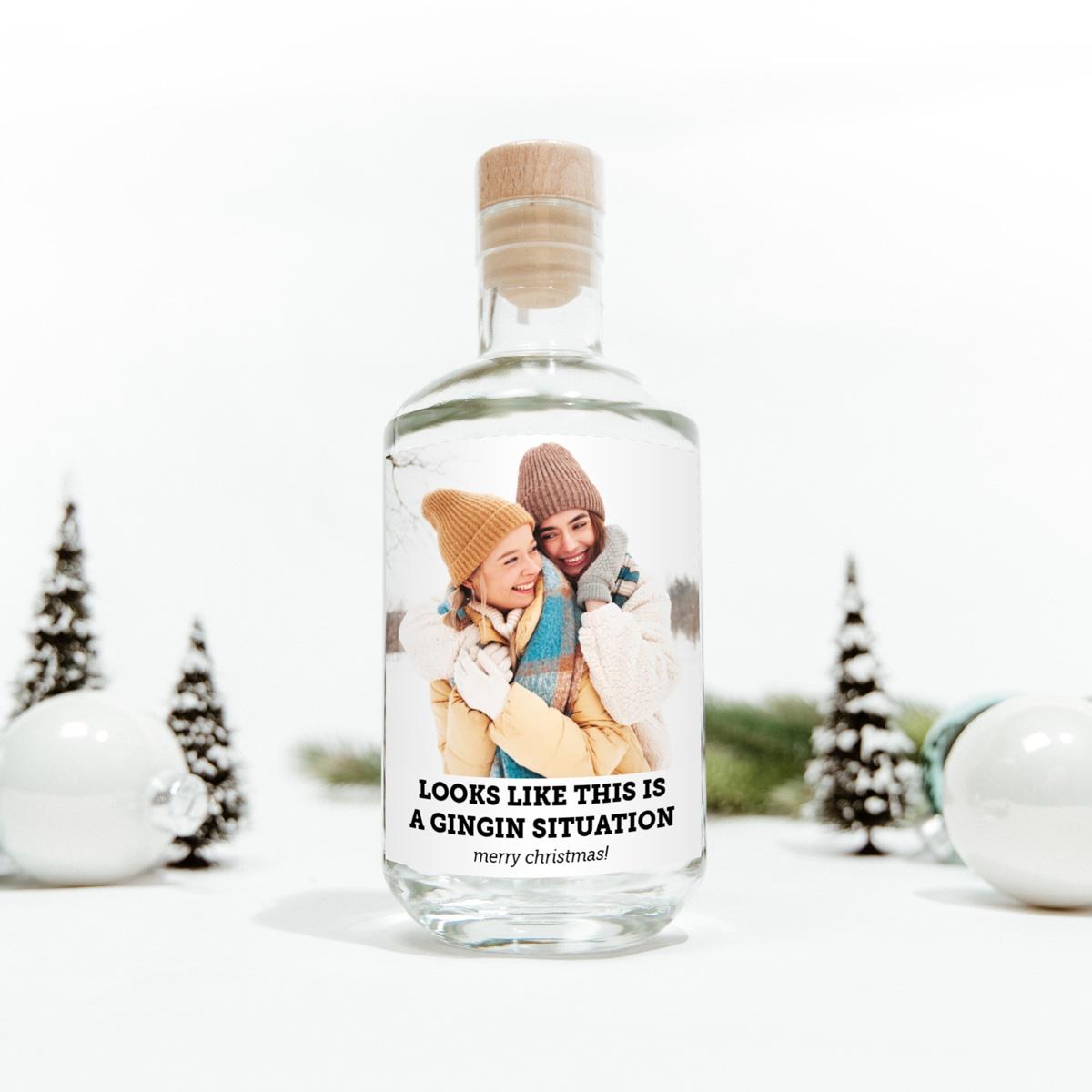 Weihnachtsgeschenke personalisierbarer Gin mit Foto und Text