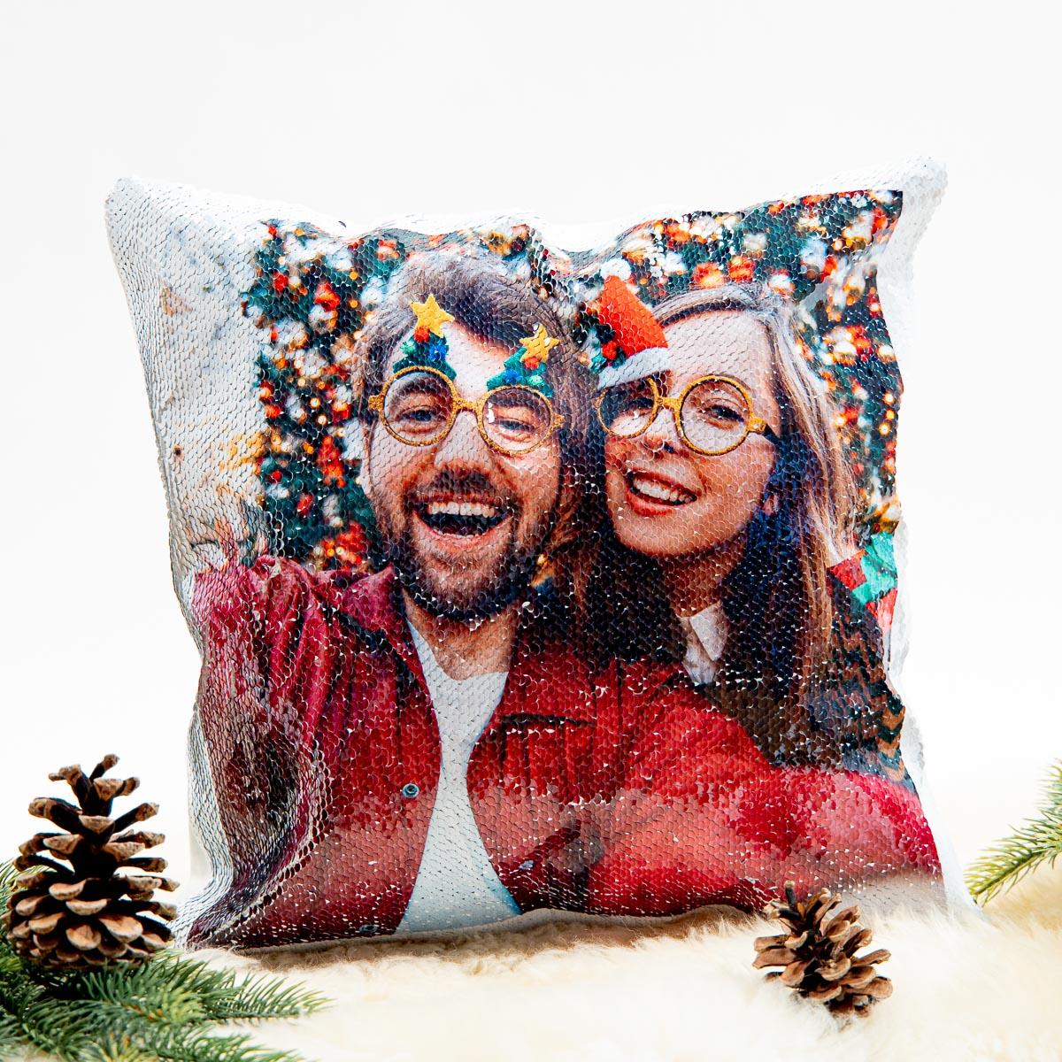 Weihnachtsgeschenke personalisierbarer Kissenbezug mit Pailletten