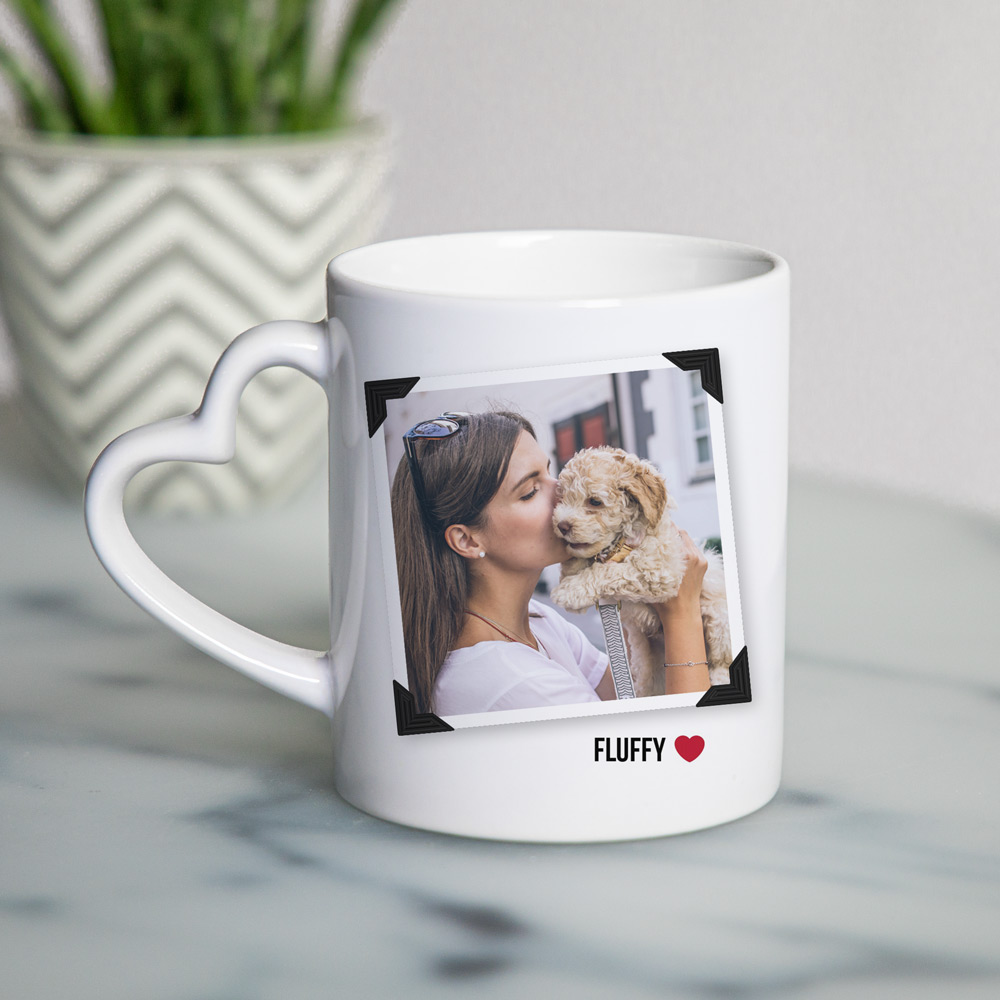 tiergeschenke personalisierte Tasse mit Foto und Herzhenkel