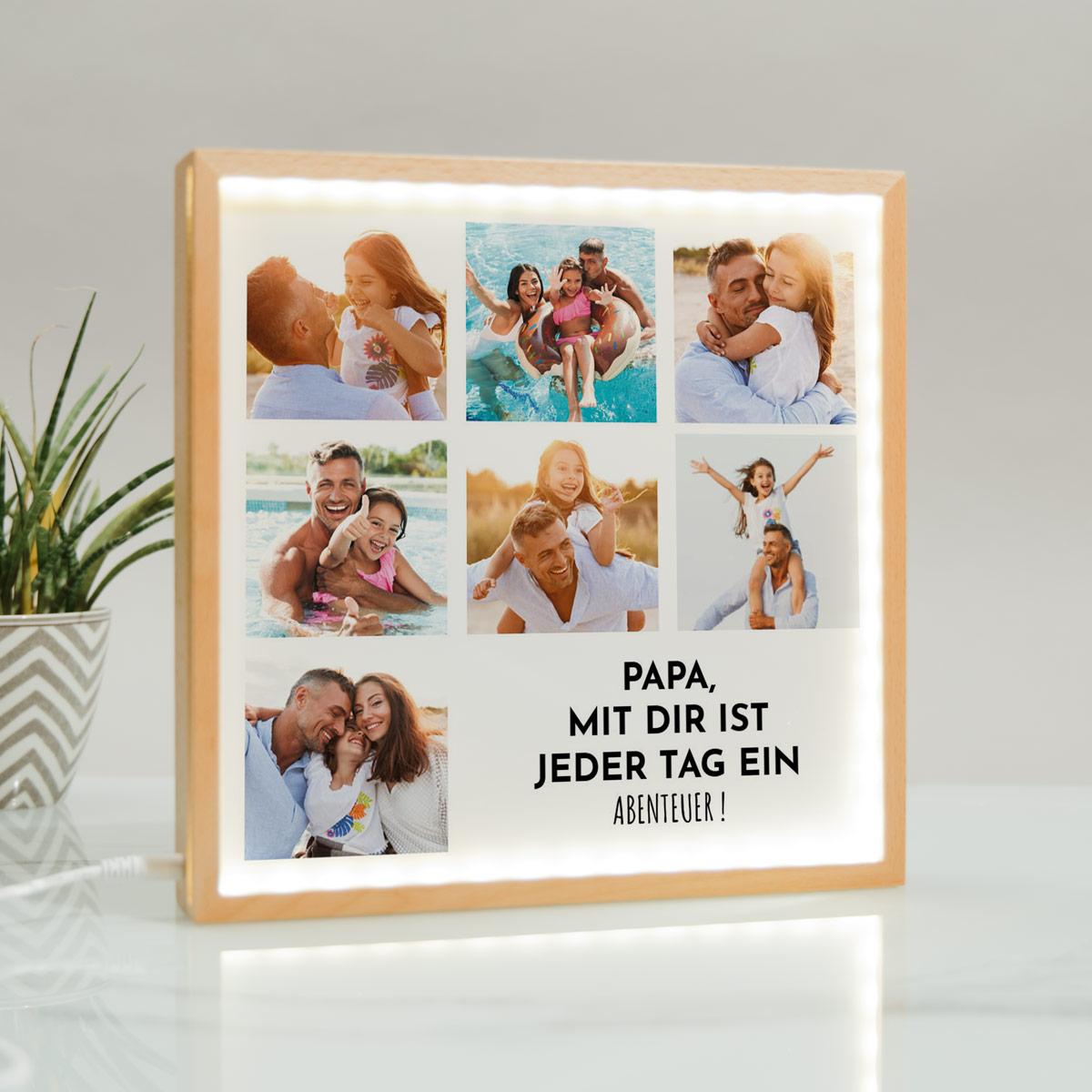 Vatertagsgeschenke personalisierbare Light Box mit 7 Bildern und Text