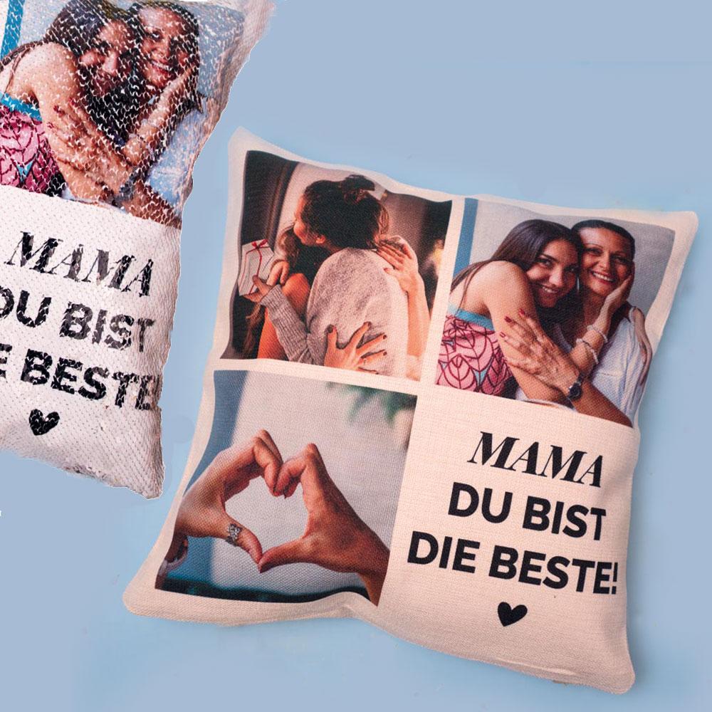 geschenke für mama glitzerkissen mit foto und text