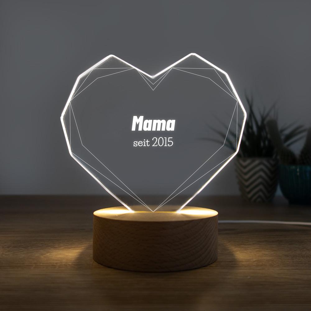 geschenke für mama personalisierbare led leuchte herz