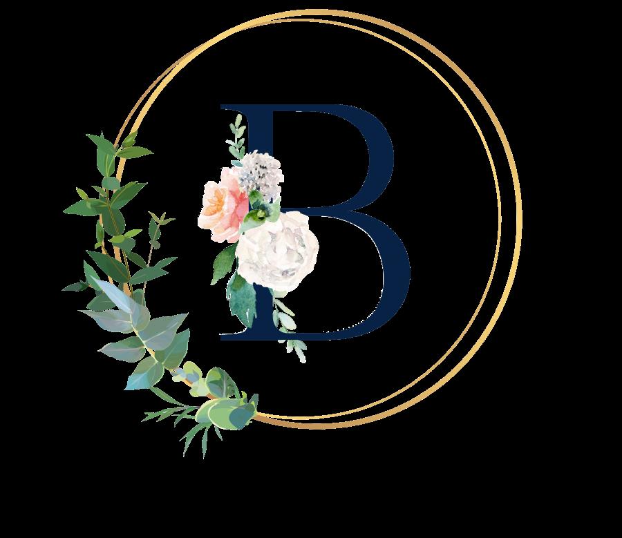 Bademantel Blumen Monogramm und Text - B