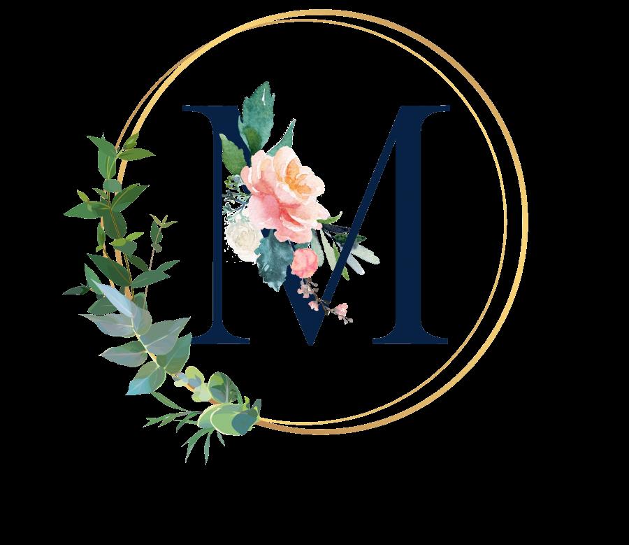 Bademantel Blumen Monogramm und Text - M