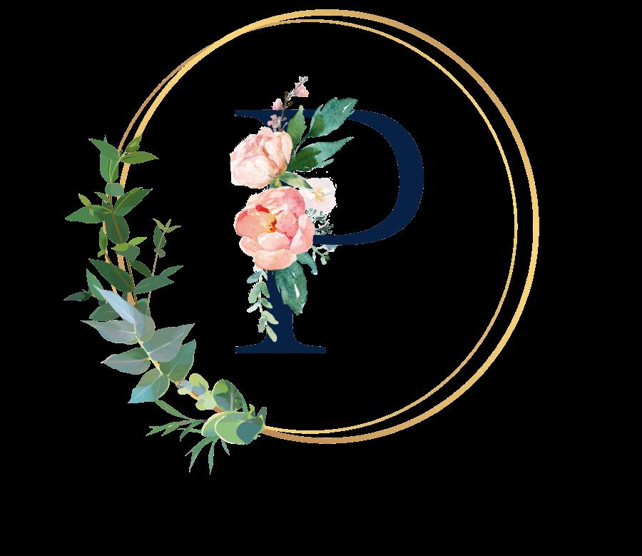 Bademantel Blumen Monogramm und Text - P