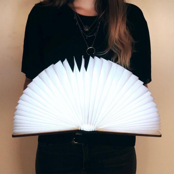 Buch-Leuchte mit Holzeinband