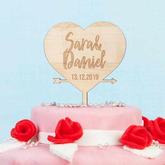 Personalisierbarer Cake Topper mit Herz