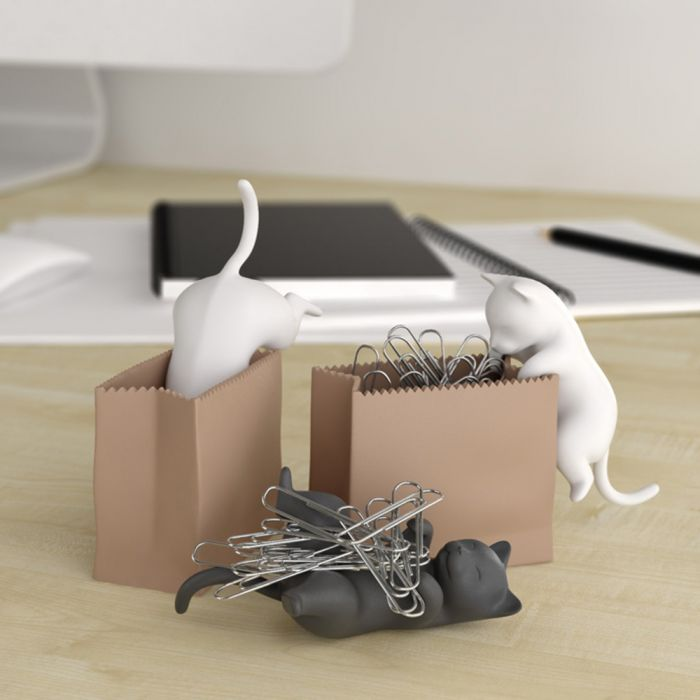 Büroklammerspender Katze mit Sack