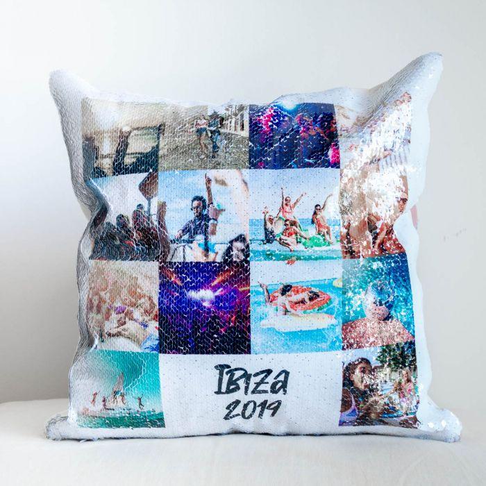 Personalisierbarer Pailletten Kissenbezug mit 14 Bildern und Text