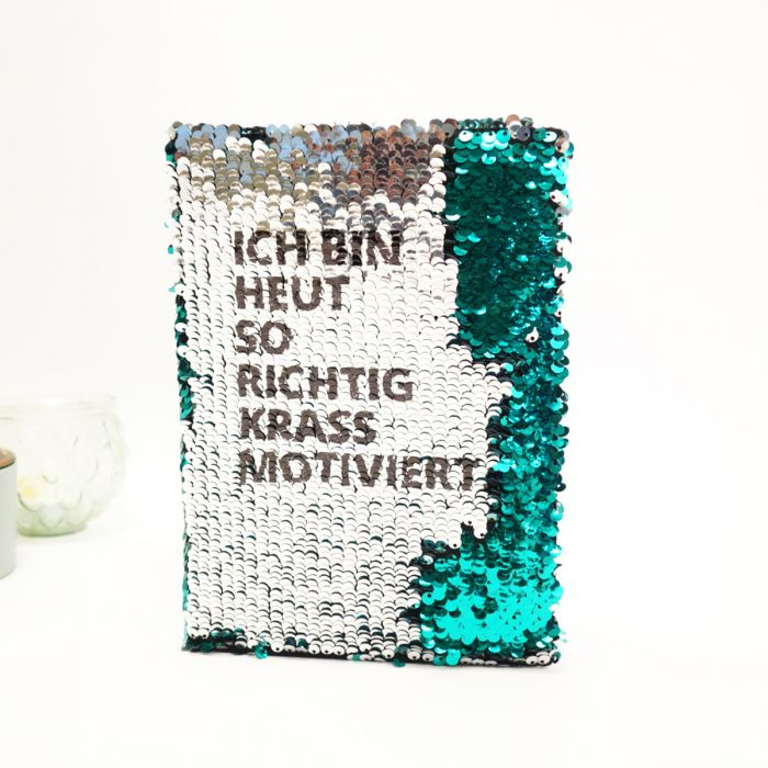 Personalisierbares Pailletten-Notizbuch
