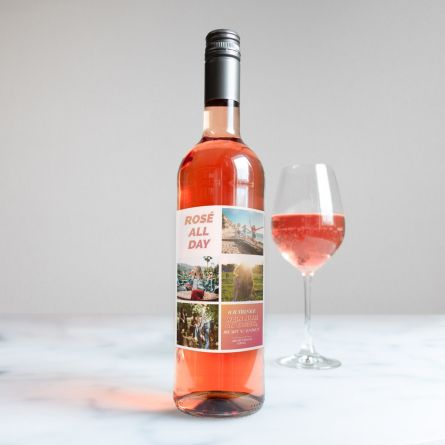 Personalisierbarer Wein mit 4 Bildern und Text