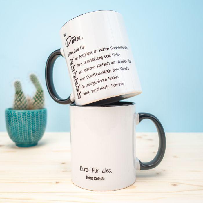 Personalisierbare Tasse Checkliste