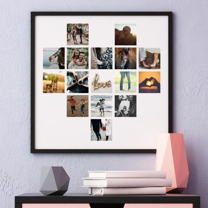 Personalisierbares Poster in Herz-Form mit Fotos