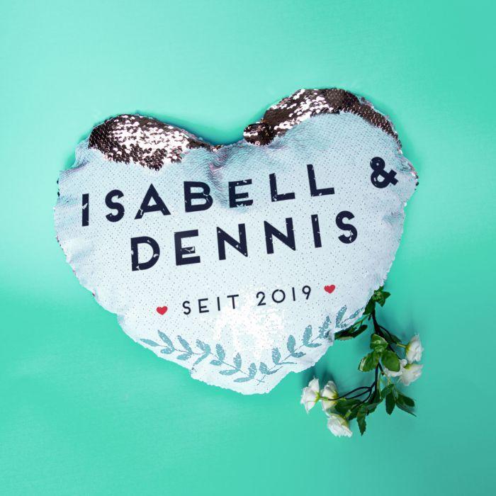 Personalisierbarer Pailletten Kissenbezug in Herzform mit Namen
