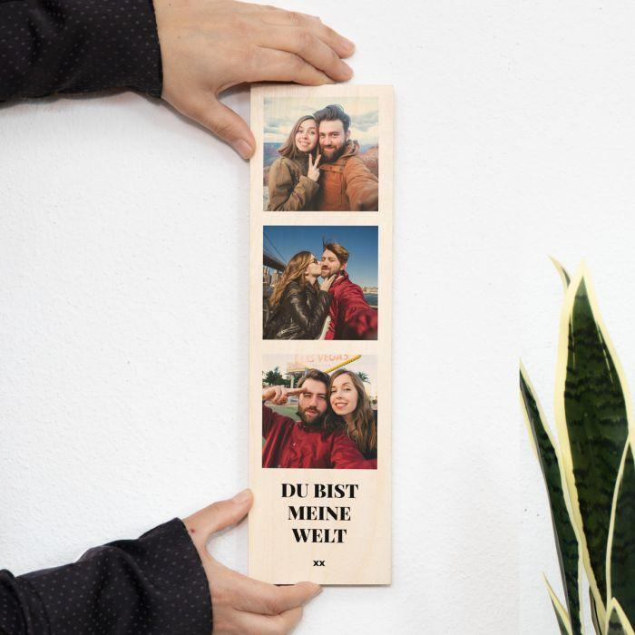 Schmales Holzbild mit 3 Bildern und Text