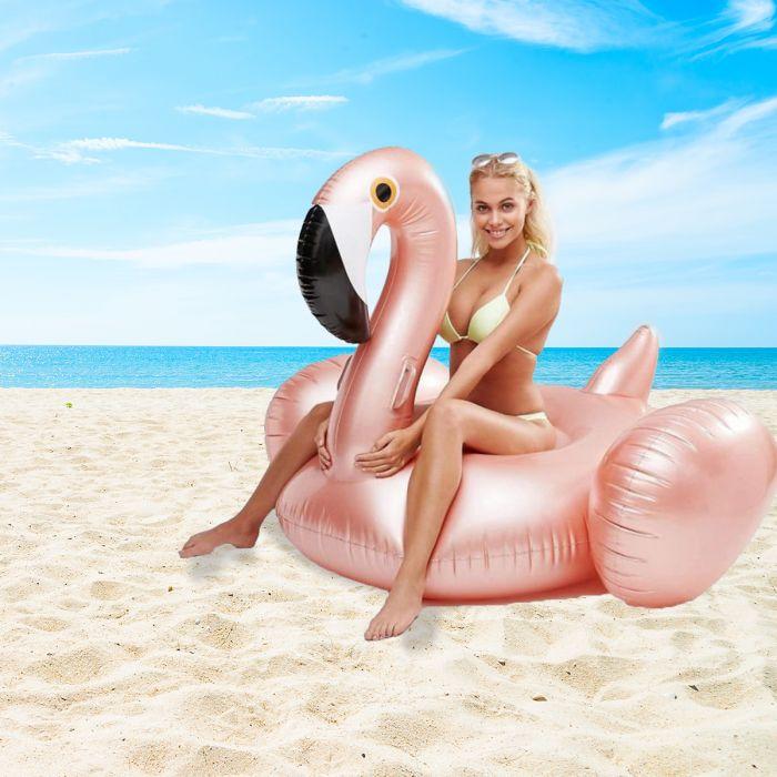 Aufblasbarer Riesen-Flamingo in Rosé-Gold