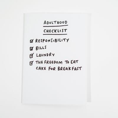 Geburtstagsgeschenk zum 30. - Grußkarte Adulthood Checklist