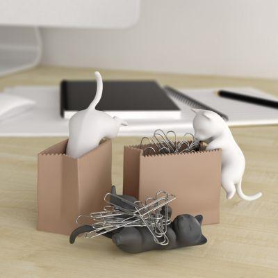 Geburtstagsgeschenk für Mama - Büroklammerspender Katze mit Sack