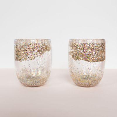 Tassen & Gläser - Glitzer Weingläser 2er-Set