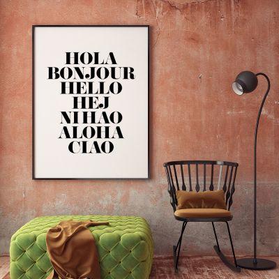 Geburtstagsgeschenk für Freund - Poster Hola Bonjour by MottosPrint