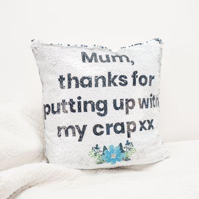Geburtstagsgeschenk zum 30. - Kissenbezug mit versteckter Botschaft in Silber