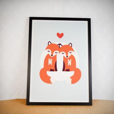 Romantische Geschenke - Personalisierbares Fuchs Poster