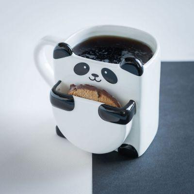 Kaffee und Tee - Panda Tasse mit Keks-Fach