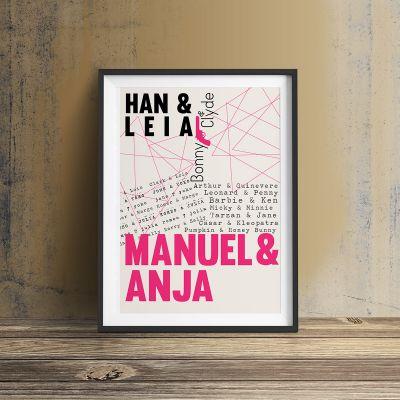 Romantische Geschenke - Berühmte Liebespaare - Personalisierbares Poster