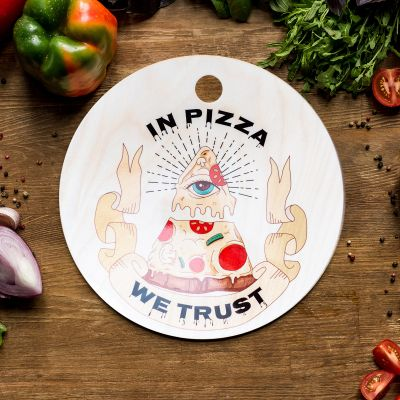 Exklusiv bei uns - In Pizza We Trust Schneidebrett