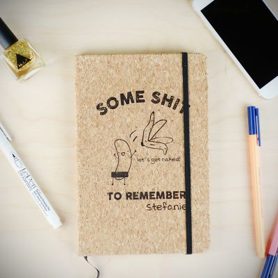 Geschenke für Frauen - Personalisierbares Kork Notizbuch Some Shit