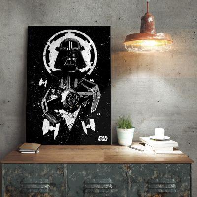 Film & Serien - Star Wars Metallposter - Vader Tie Fighter