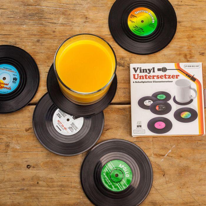 6 Untersetzer im Vinyl-Schallplatten-Look