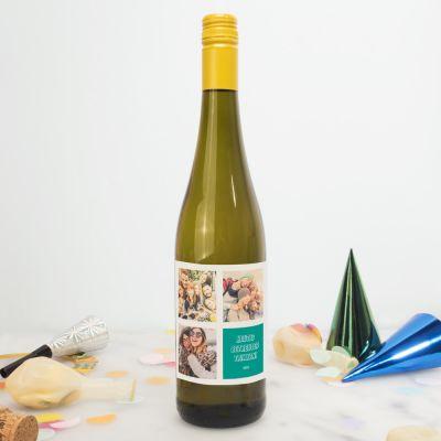 Geburtstagsgeschenk zum 30. - Personalisierbarer Wein mit 3 Bilder und Text