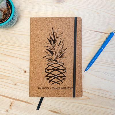 Bücher - Personalisierbares Kork Notizbuch - Ananas