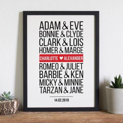 Personalisierte Geschenke - Berühmte Paare Modern - Personalisierbares Poster