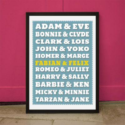 Exklusive Poster - Berühmte Paare - Personalisierbares Poster