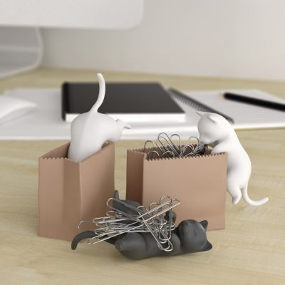 Spass im Büro - Büroklammerspender Katze mit Sack