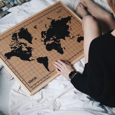 Geburtstagsgeschenk für Freund - Kork-Pinnwand Weltkarte