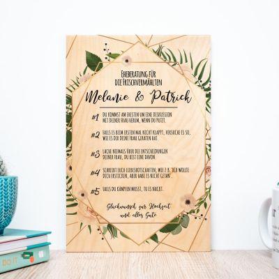 Exklusive Geschenke aus Holz - Personalisierbares Holzbild mit guten Ratschlägen