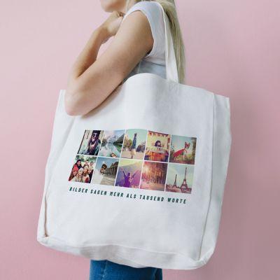 Kleidung & Accessoires - Personalisierbare Tasche mit 10 Bildern und Text